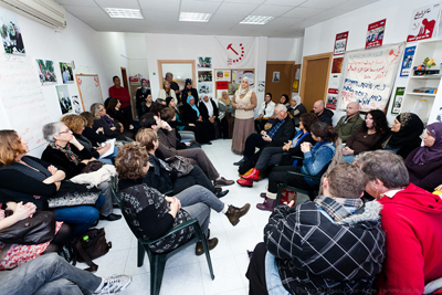 <p>A delegation of activists for social protest from Beit Haam, Tel Aviv, visited the WAC-MAAN headquarters in Baqa al-Gharbiya on January 14, 2012, where they met with Arab women and agricultural workers in order to examine the harsh reality affecting the Arab population under the racist economic policy that drives women out of the labor market.</p>