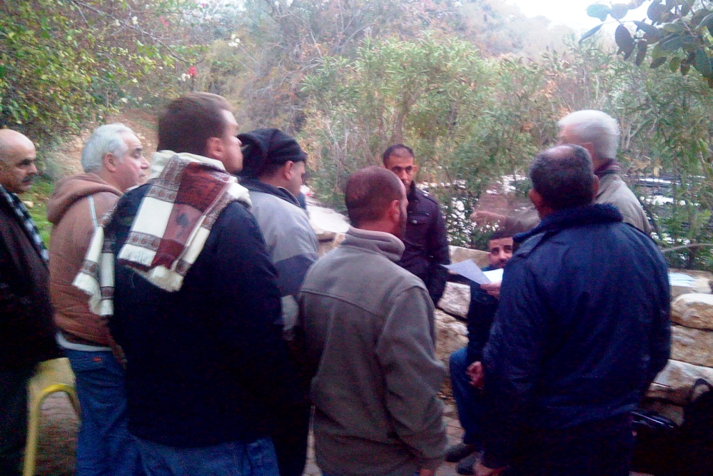 Assaf Adiv meets the workers in Mishor Adumin on Jan. 14, 2015.