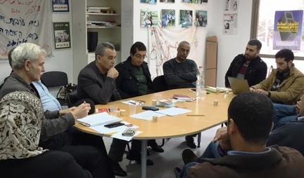 WAC MAAN sponsored a meeting with construction workers and relatives of workers killed in its Baqa Al Gharbia office – attended by MK Jamal Zahalka and WAC MAAN's Director Assaf Adiv